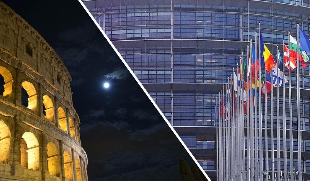 Das Kolosseum bei Nacht und der Europaparlament in Straßburg bei Tag