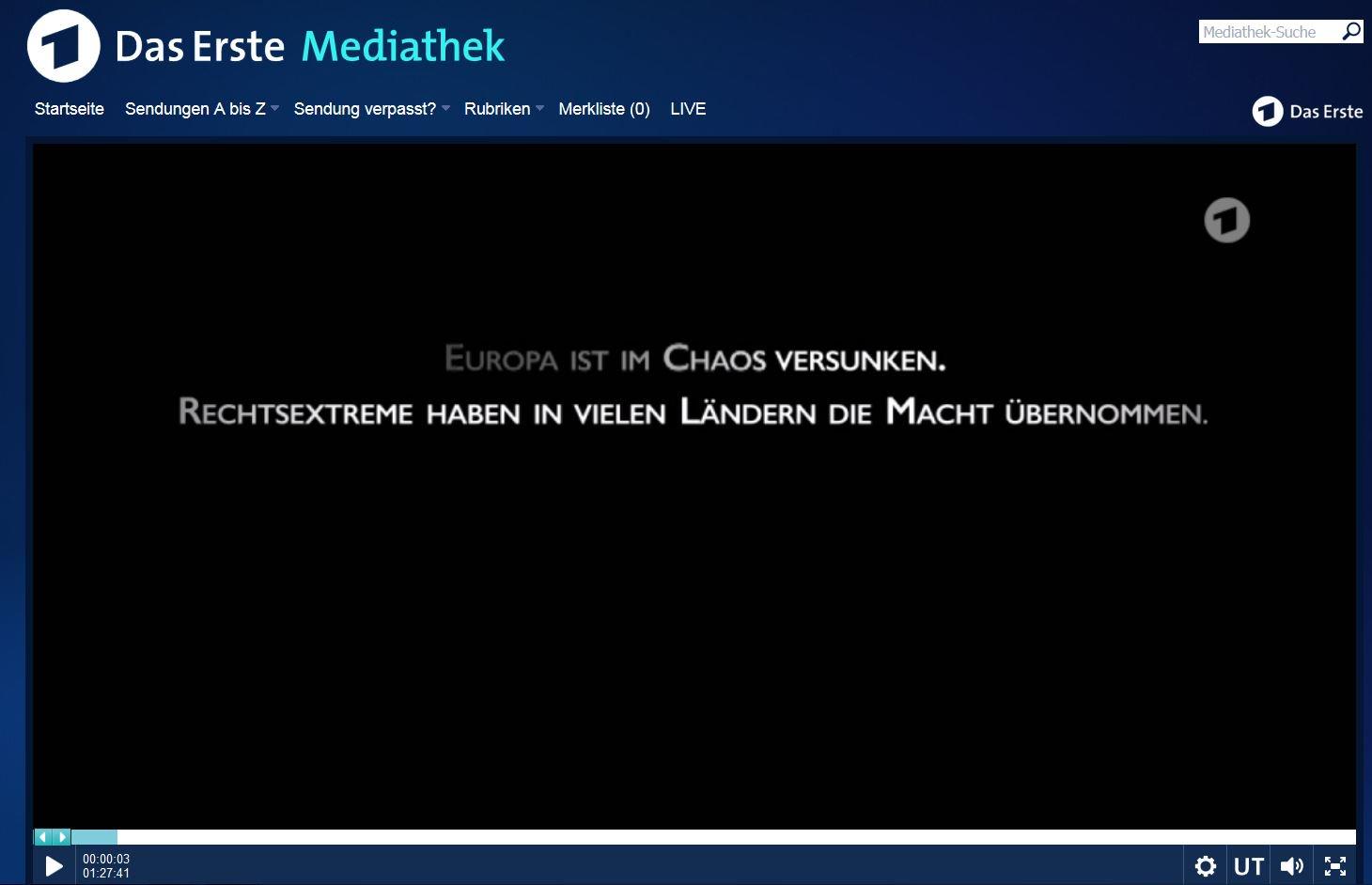 Screenshot aus der Mediathek des Senders Das Erste
