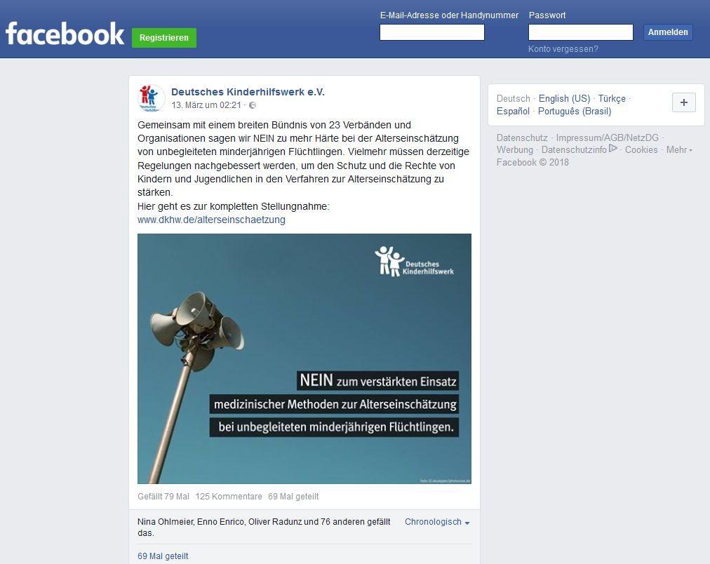 Screenshot von der Facebook-Seite des DKHW vom 13. März 2018