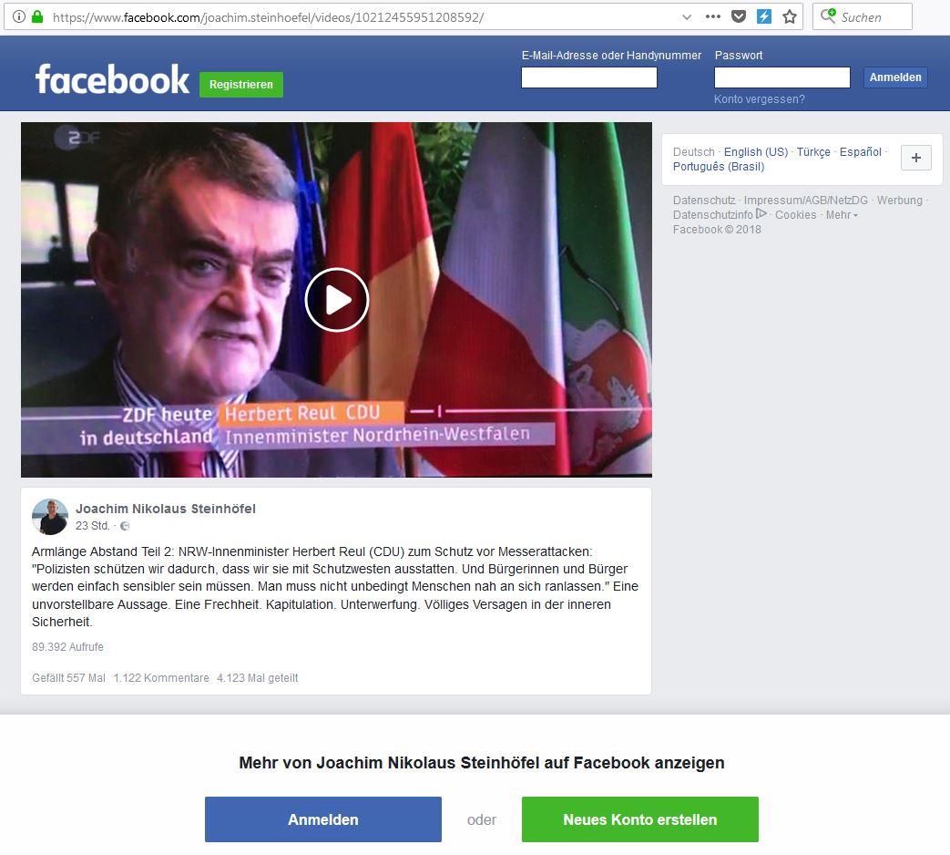 Screenshot von Rechtsanwalt Joachim Steinhöfels Facebook-Seite, zu sehen ist ein Videoausschnitt mit Herbert Reul