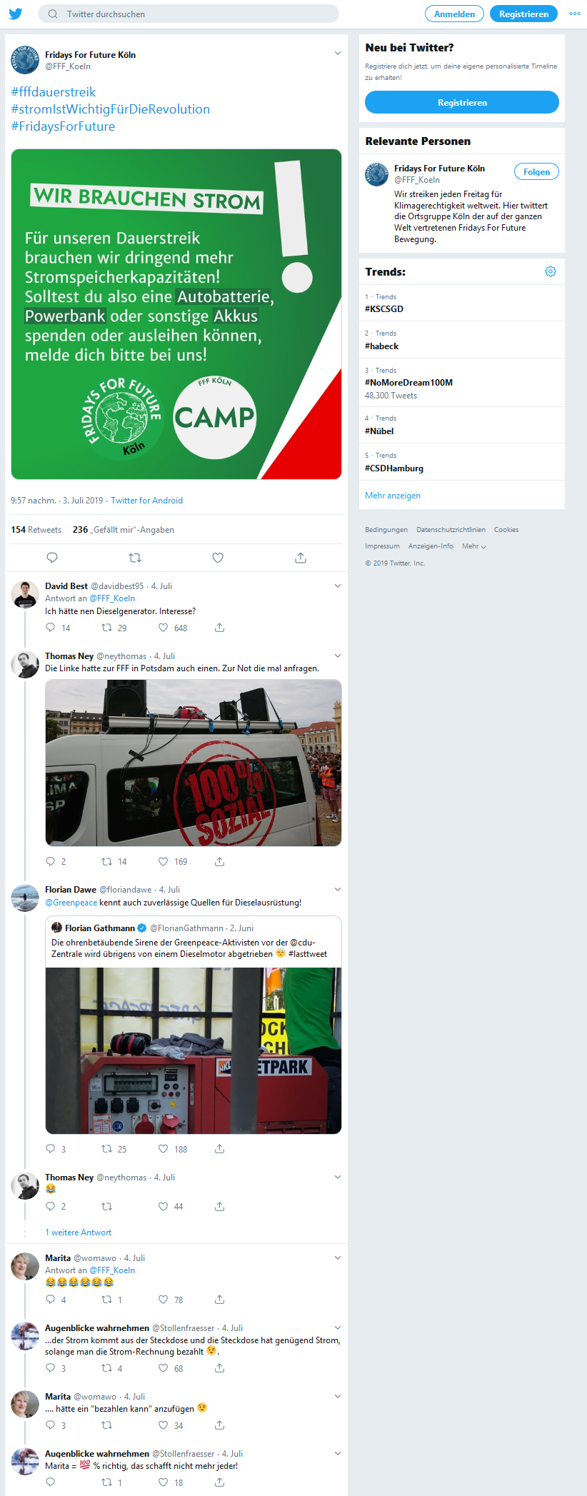 Screenshot von Twitter mit Kommentaren zu FFF