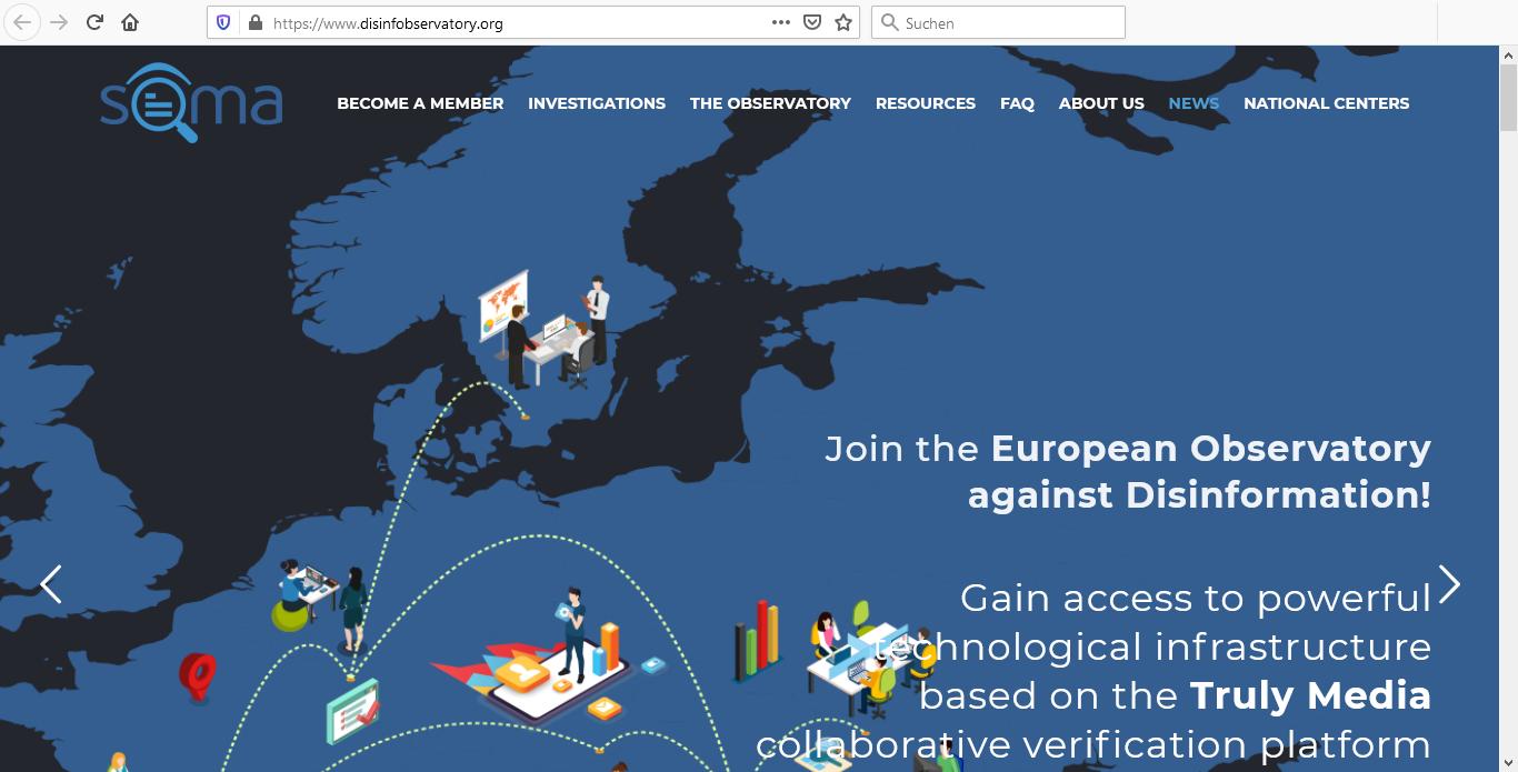 Die Website heißt disinfobservatory.org, der Betreiber kürzt sich mit SOMA ab