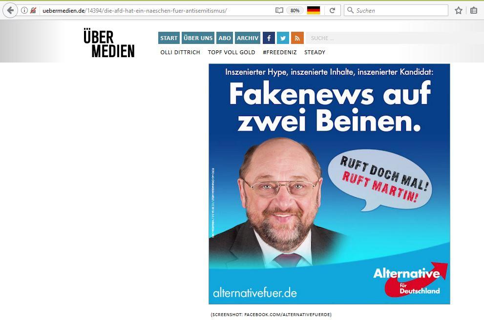 ein Screenshot von Übermedien zur Bildbearbeitung der AfD