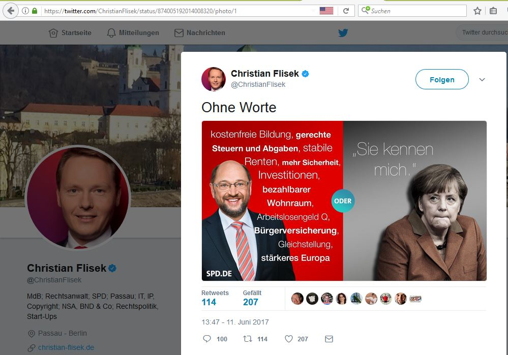 der SPD-MdB Christian Flisek verbreitet eine Gegenüberstellung von Schulz und Merkel